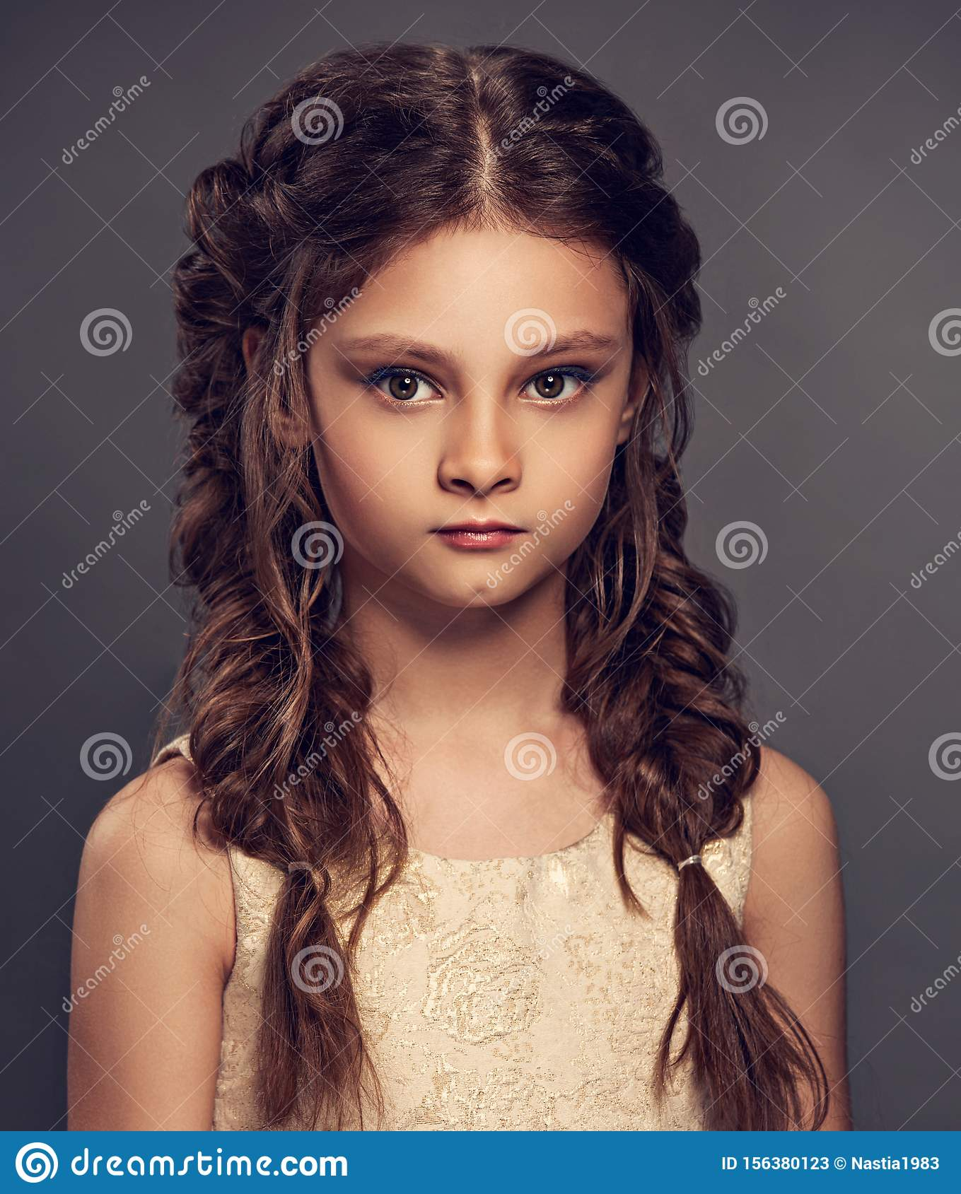 Beauty Portrait Of Wedding Clean Makeup Kid Girl With