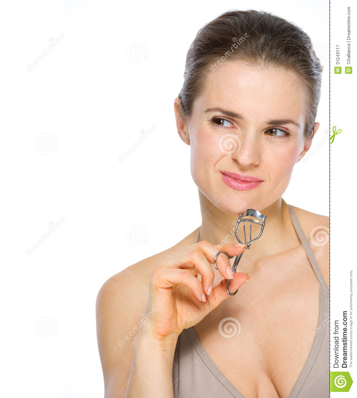 Beauty Holding It: Beauty Portrait Of Woman Holding Eyelash Curler Royalty