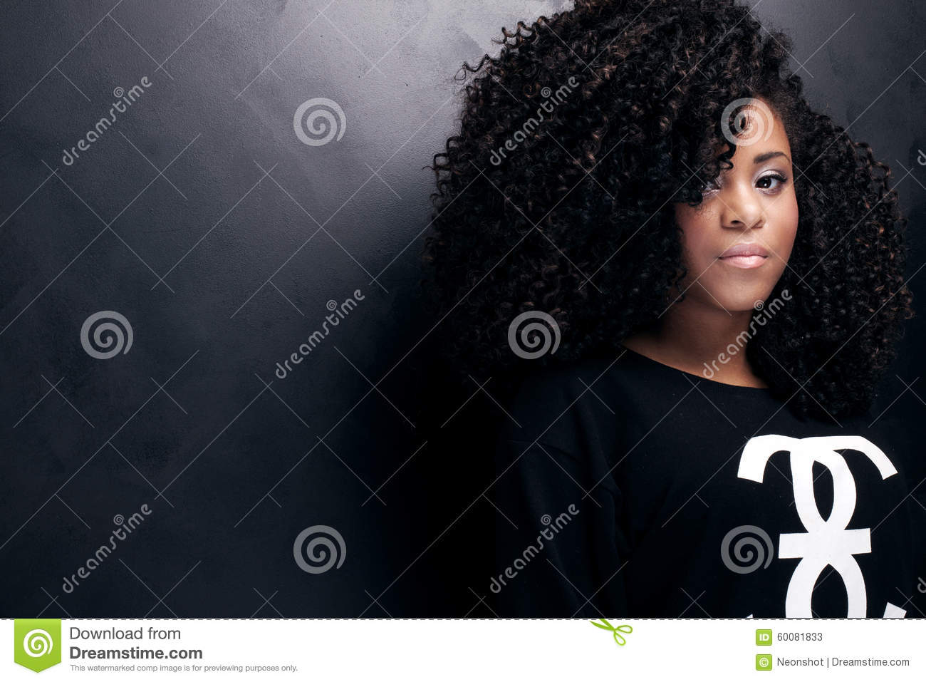 Beauty portrait of young african american girl.