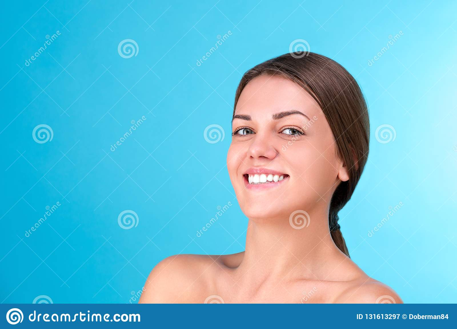 Stock Photo of Half-naked young women laughing face to
