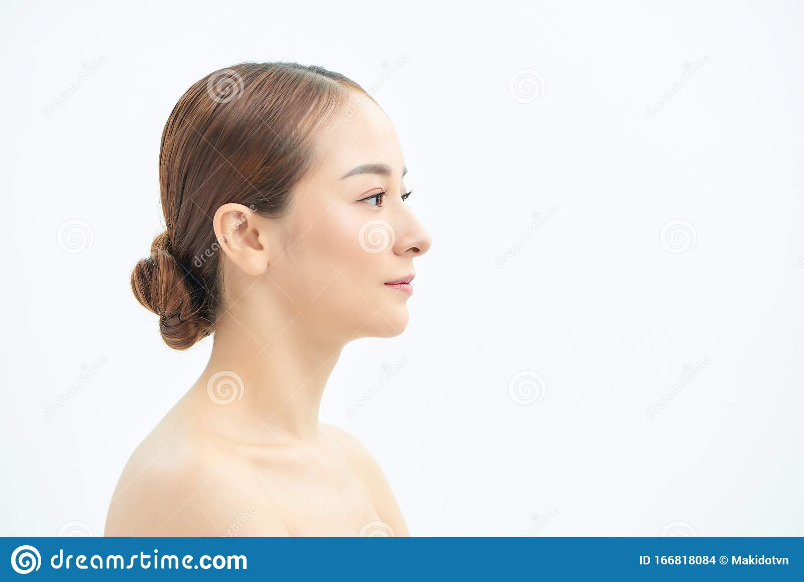 Beauty Portrait Of A Young Smiling Half Naked Woman Stock