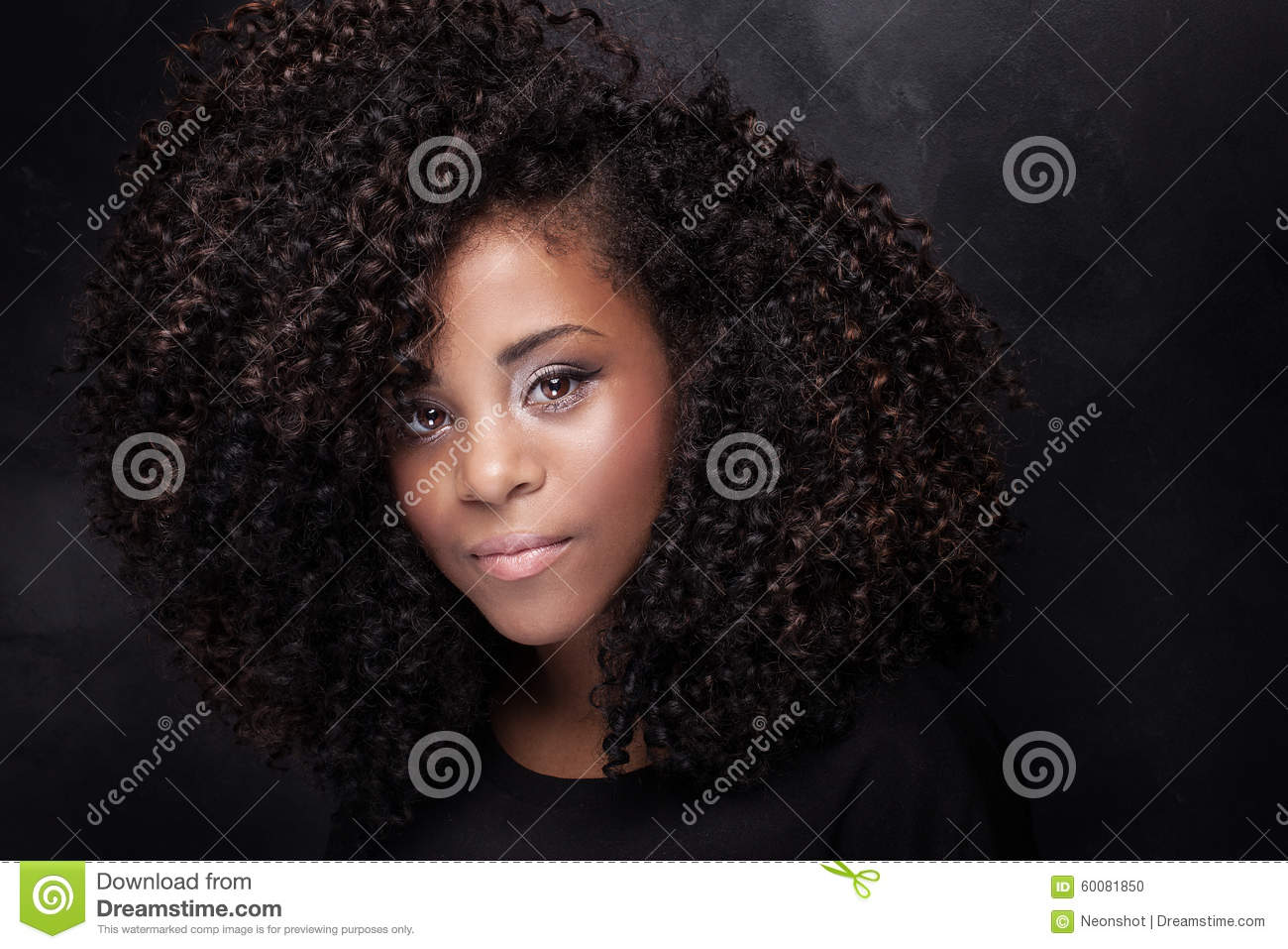 Beauty Portrait Of Young Girl With Afro  Stock Photo - Image