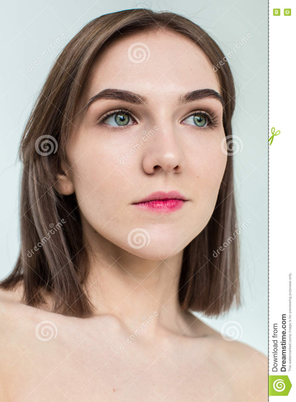 young nude model Beauty portrait of young model with middle length hair. Professional nude  makeup
