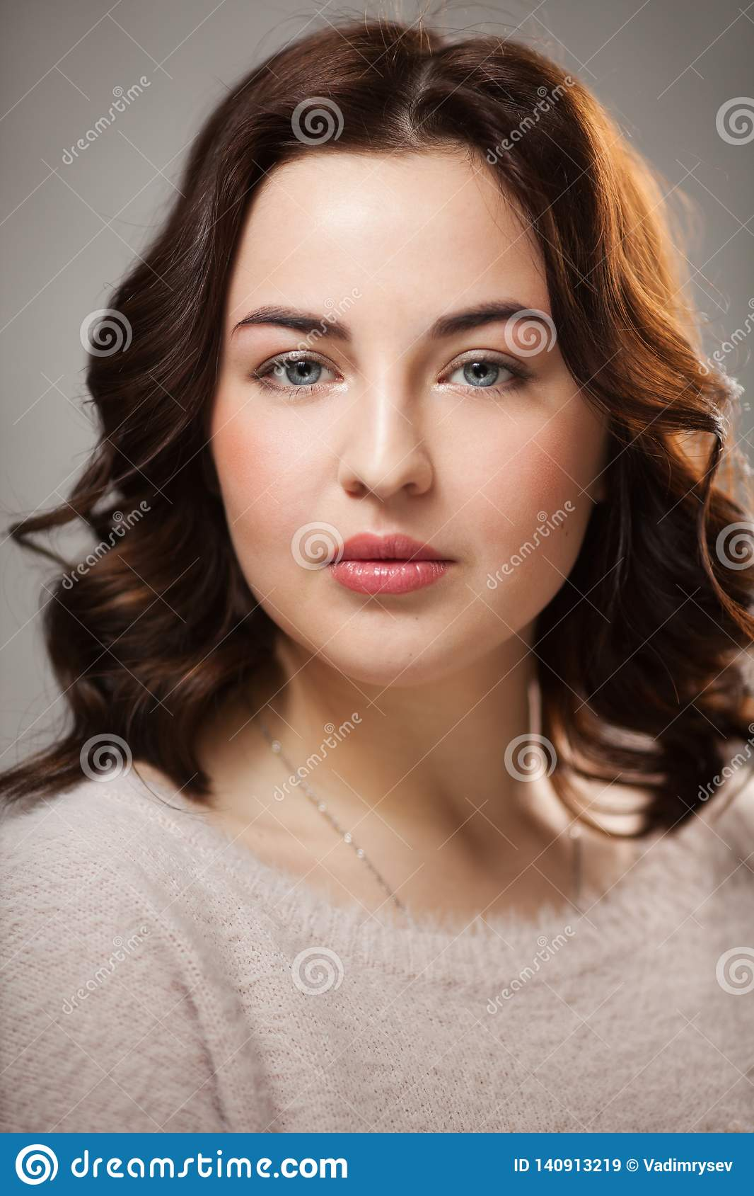 Portrait Of Beautiful Young Woman With Makeup Contouring