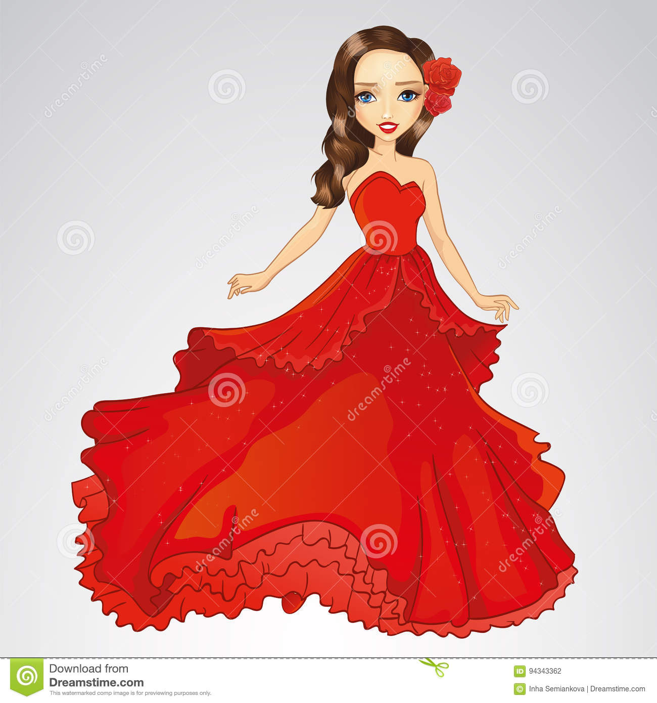 Beauty Princess In Red Dress Stock Vector , Illustration of