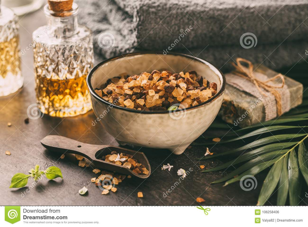 Beauty Products, Baths Salts, Massage Oil And Soap. Stock Photo ...