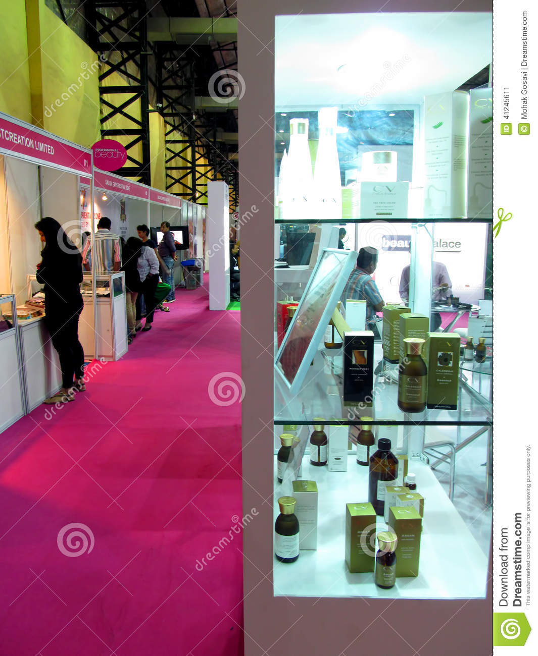 Beauty Expo Stands : Beauty products at expo editorial photo image