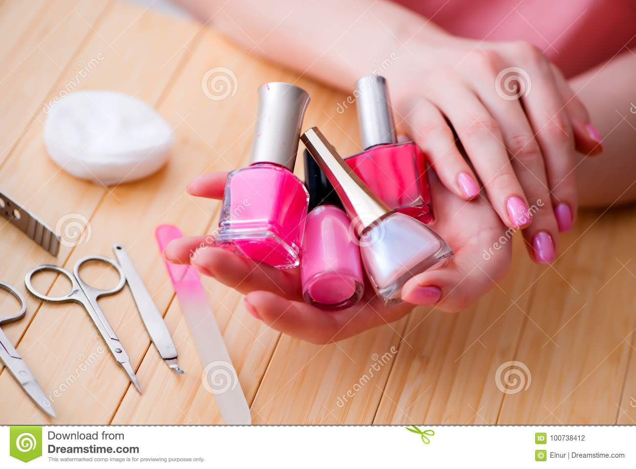 The Beauty Products Nail Care Tools Pedicure Closeup Stock Photo ...
