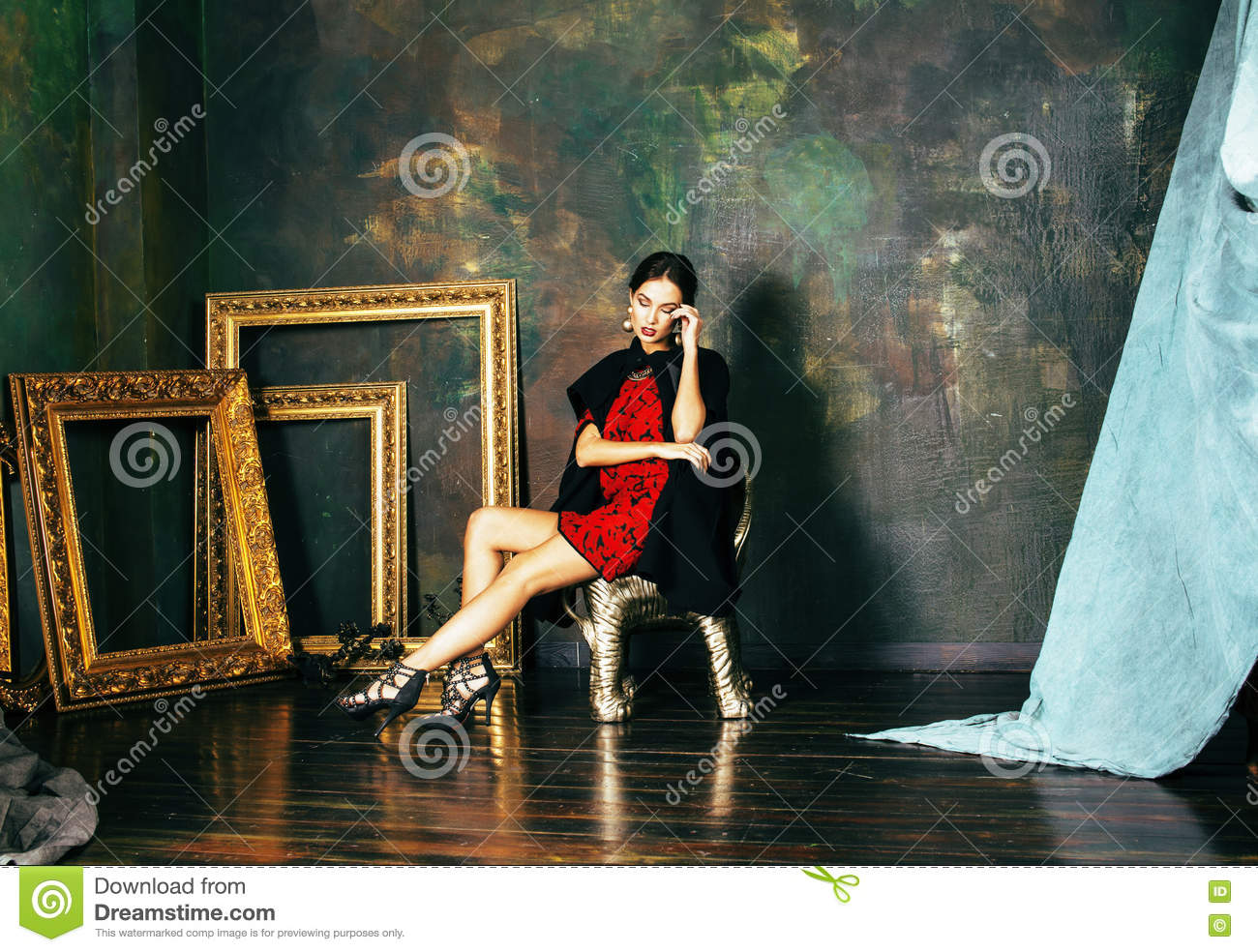 Beauty Rich Brunette Woman In Luxury Interior Near Empty Frames ...