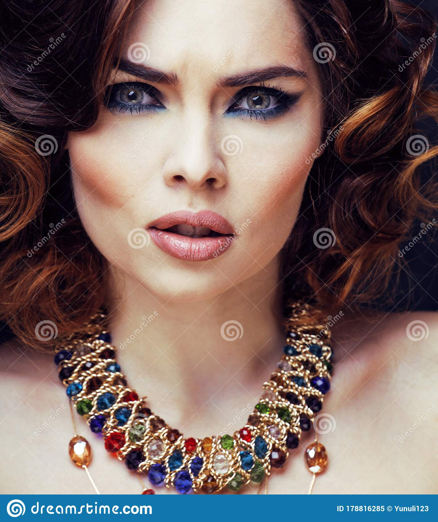 Beauty Rich Woman With Bright Makeup Wearing Luxury