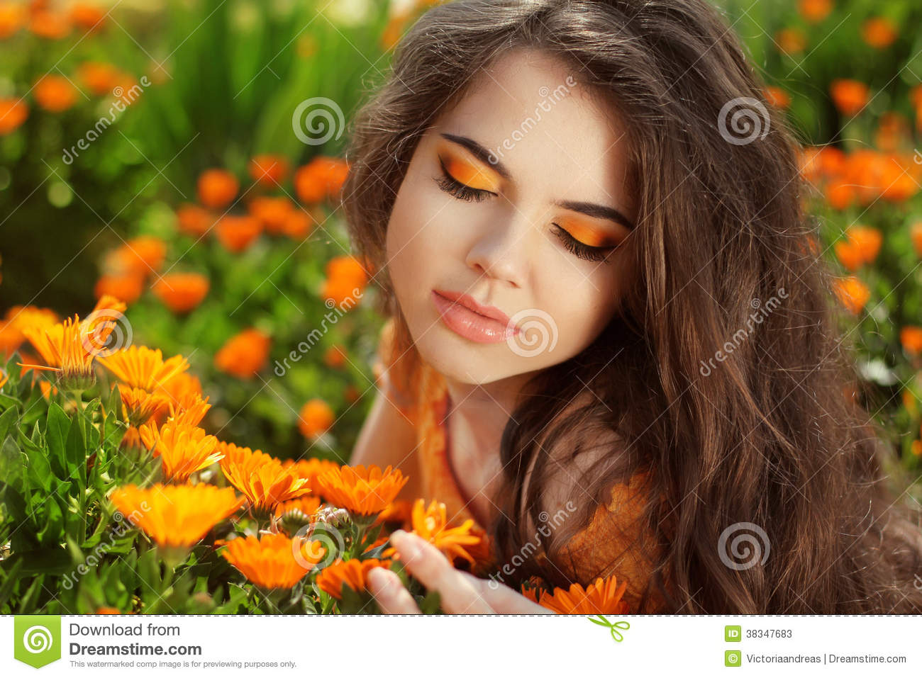 Beauty Romantic Girl Outdoors. Eye makeup. Beautiful Teenage Mod