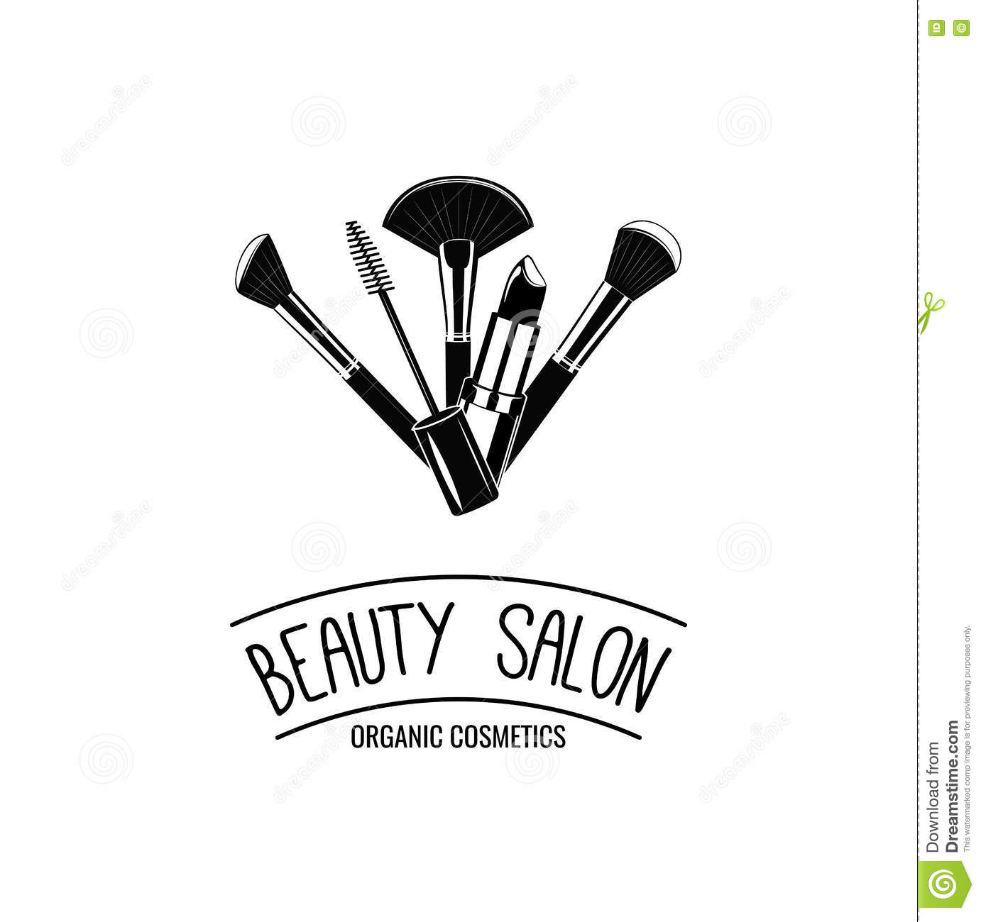 Makeup Brushes Logo Vector Stock Photo
