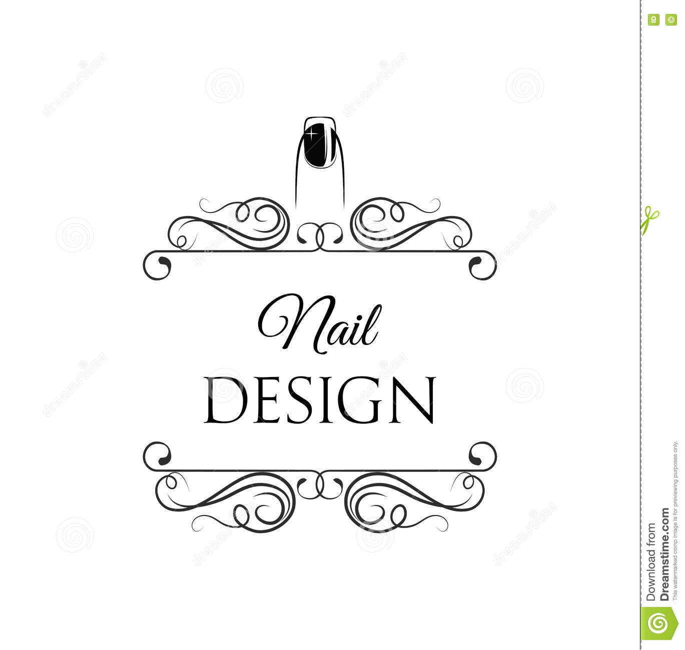 Framed Nail Art Designs For Nail Salons: Beauty Salon Badge. Nail Design. Makeup. Filigree Divider