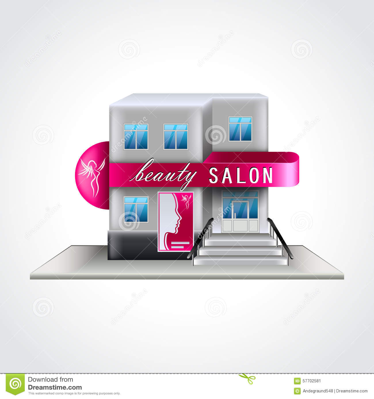 Beauty Salon Building Vector Illustration