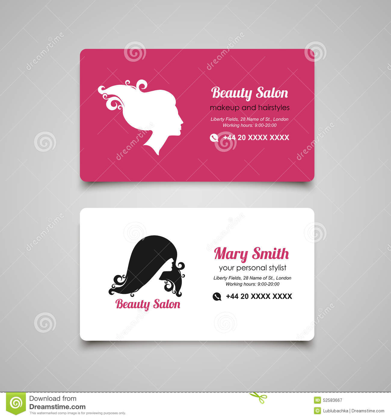 beauty salon business card design template with beautiful woman