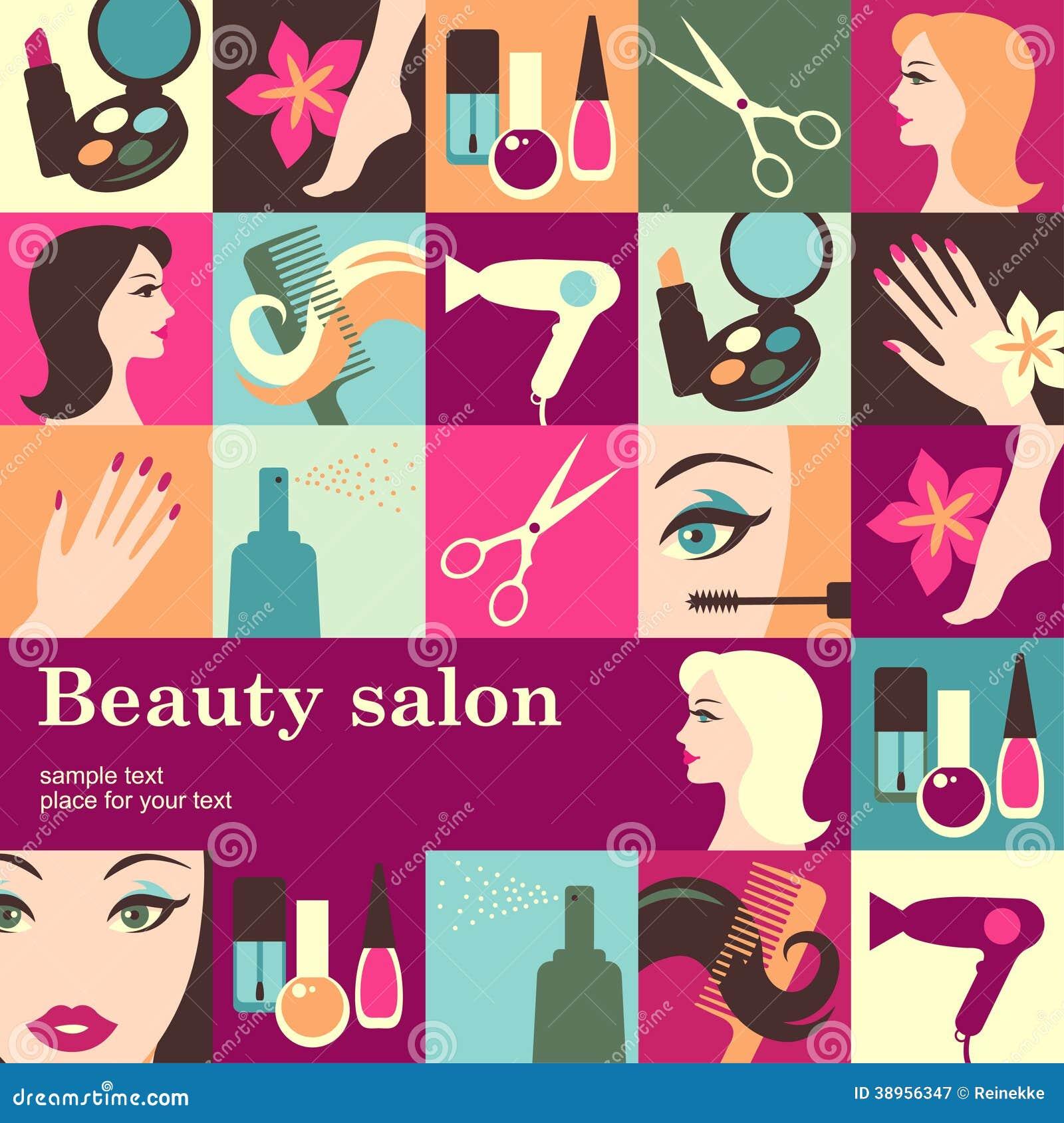 Nails Art Beauty Salon Background Stock Vector
