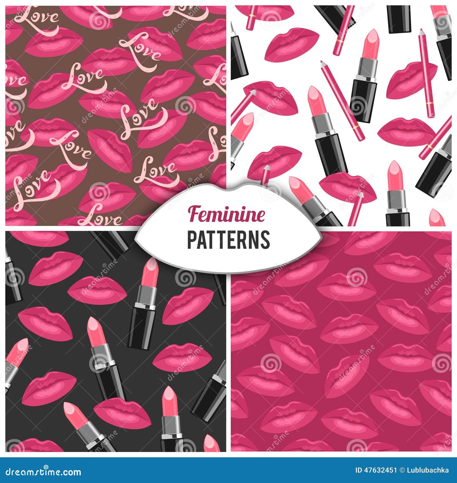 Beauty Salon Fashion Cosmetics Seamless Pattern Stock