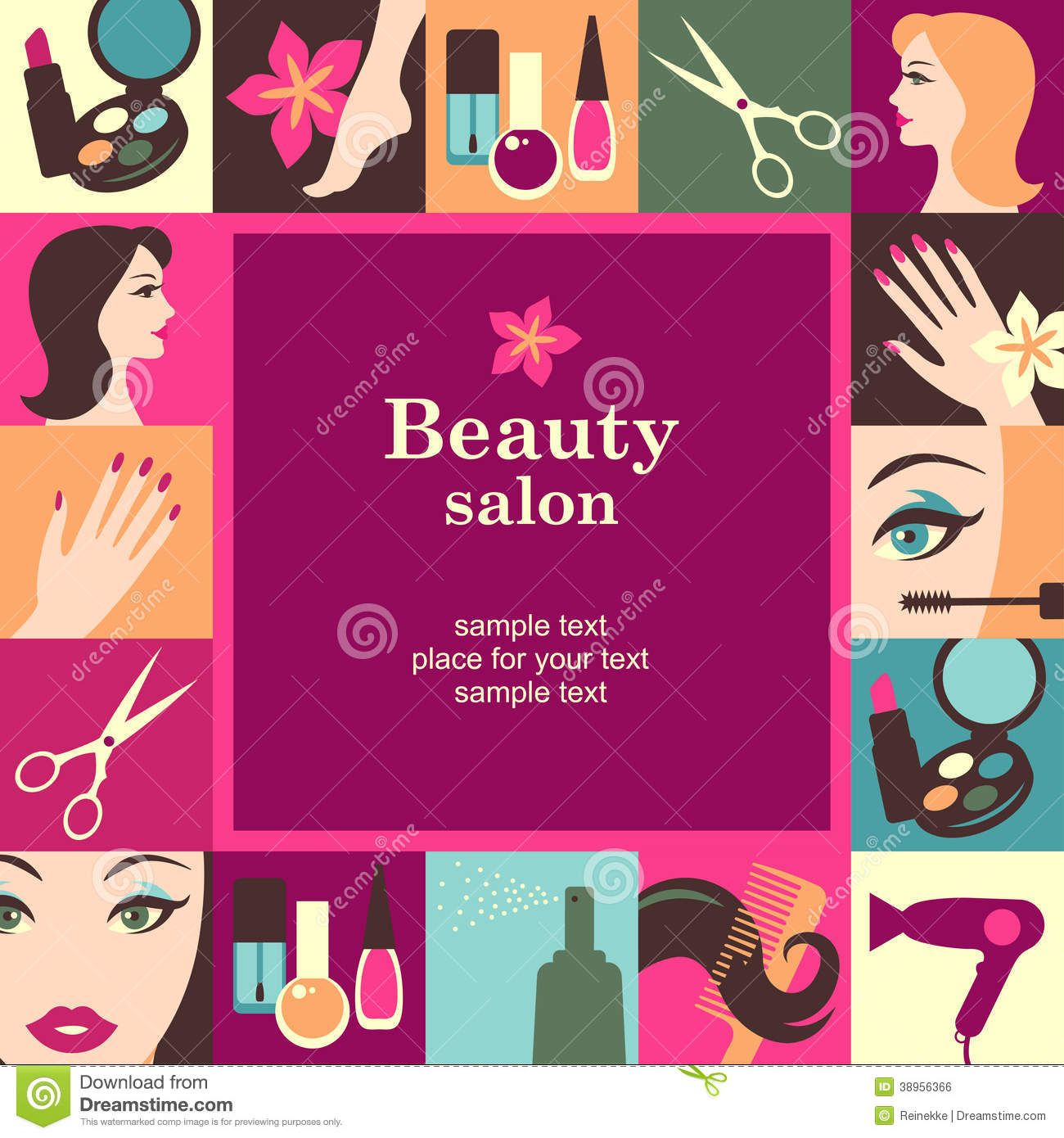 Beauty salon frame template card. Vector background.