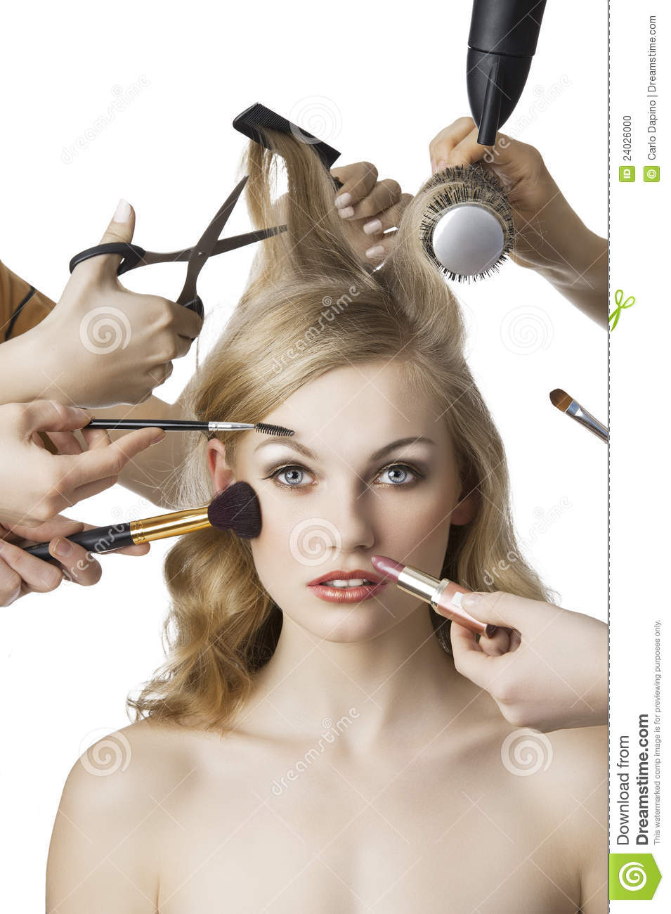 Woman getting a beauty and hair style in the same time with hands ...