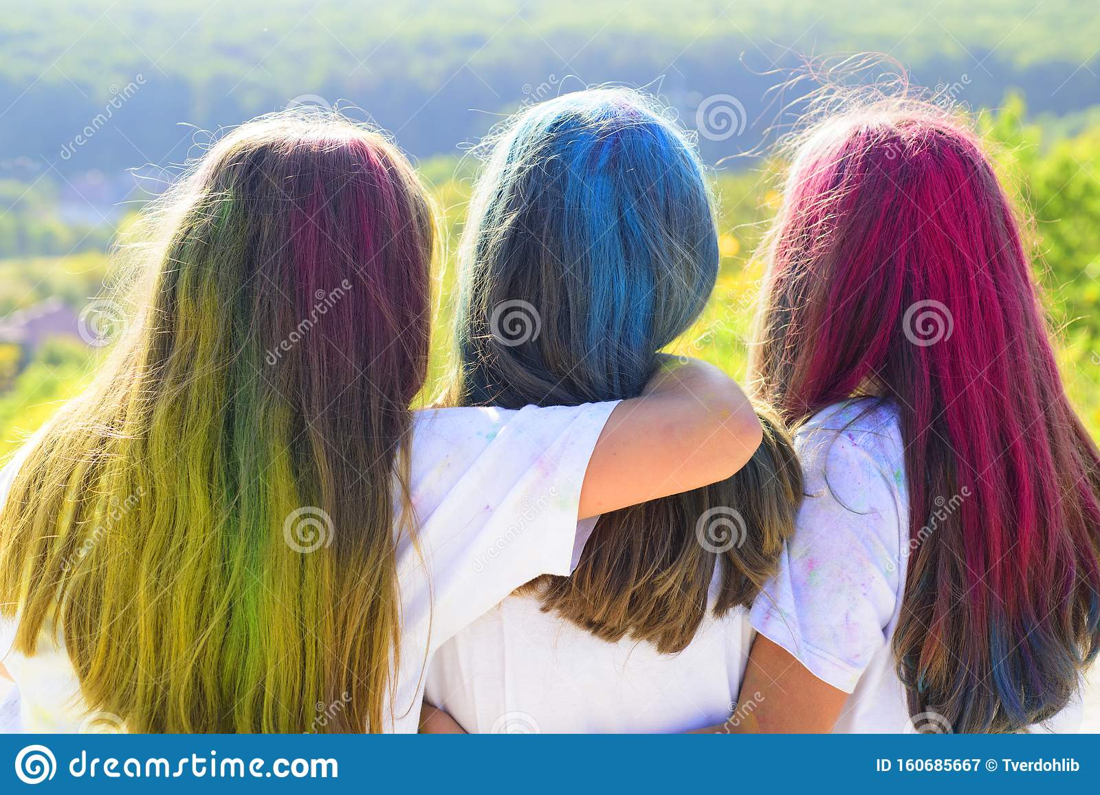 Beauty Salon And Hairdresser Positive And Cheerful Children With Creative Body Art Colorful Neon Paint Hair Crazy Stock Image Image Of Happy Funny 160685667