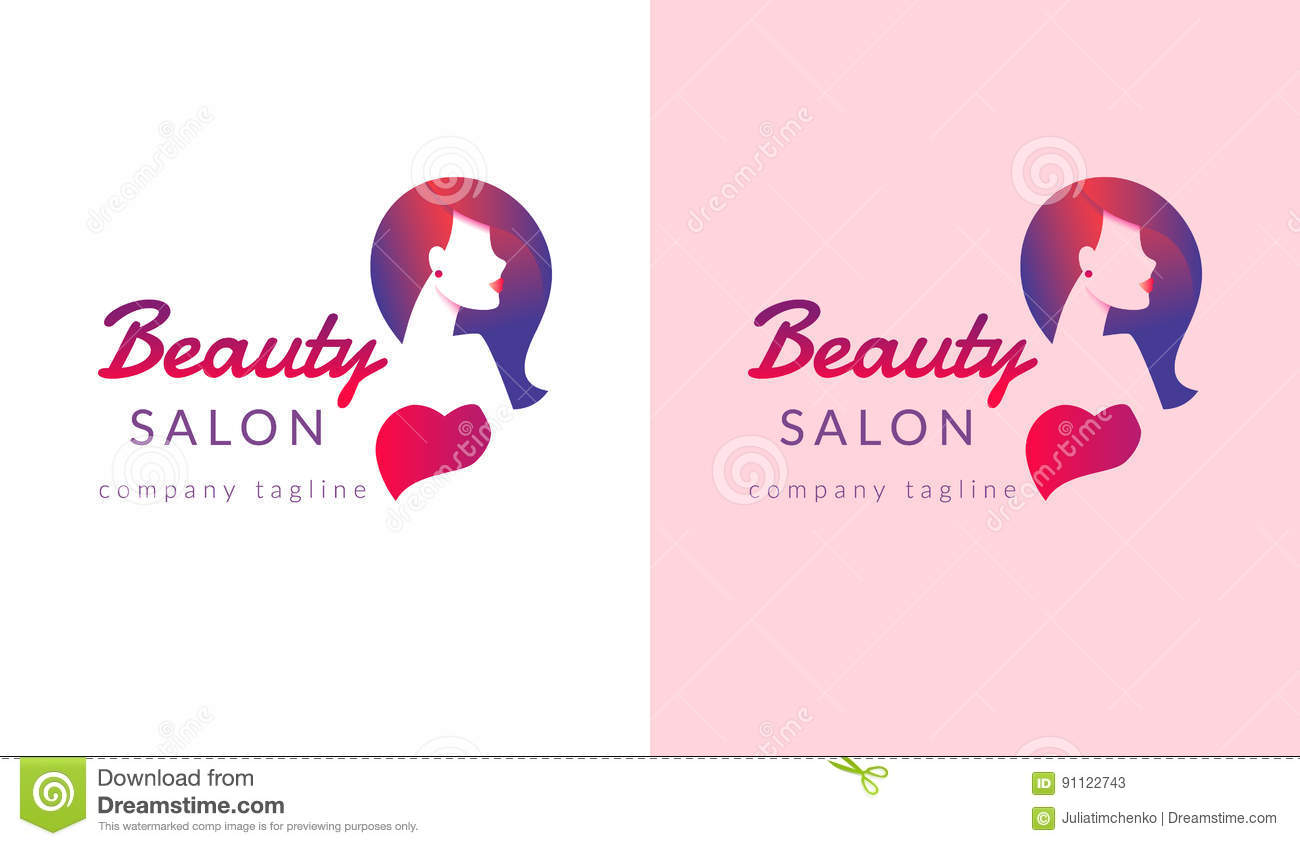 beauty salon logo design with female face and haircut for stylist