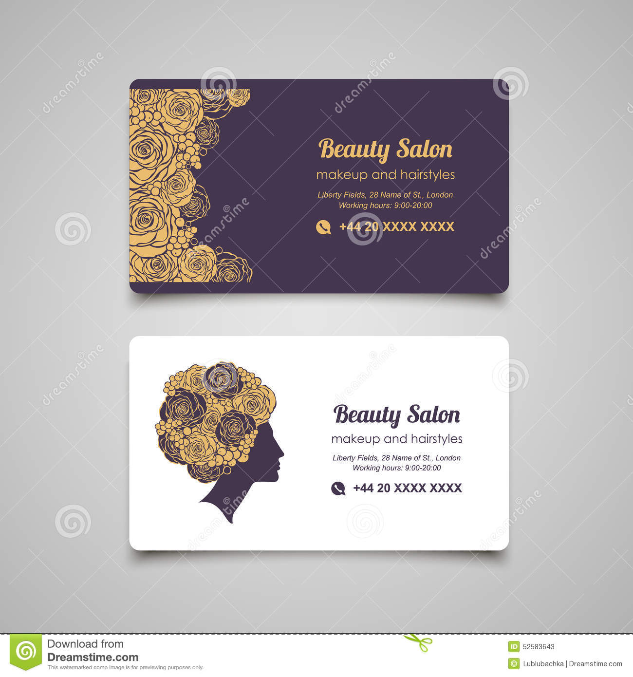 Beauty Salon Luxury Business Card Design Template With Beautiful ...