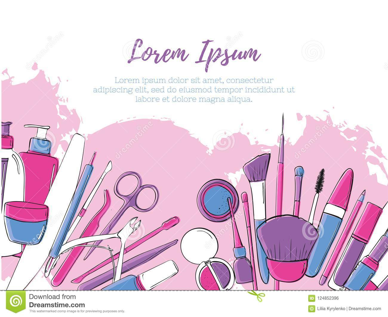 Beauty Salon And Make Up Banner Layout. Pink Glamour ...