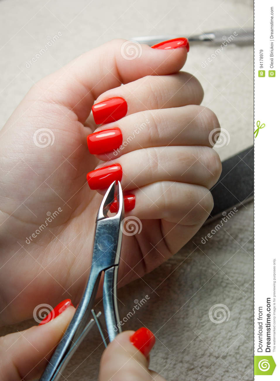 Beauty Salon, Manicure Applying, Cutting The Cuticle With Scissors ...