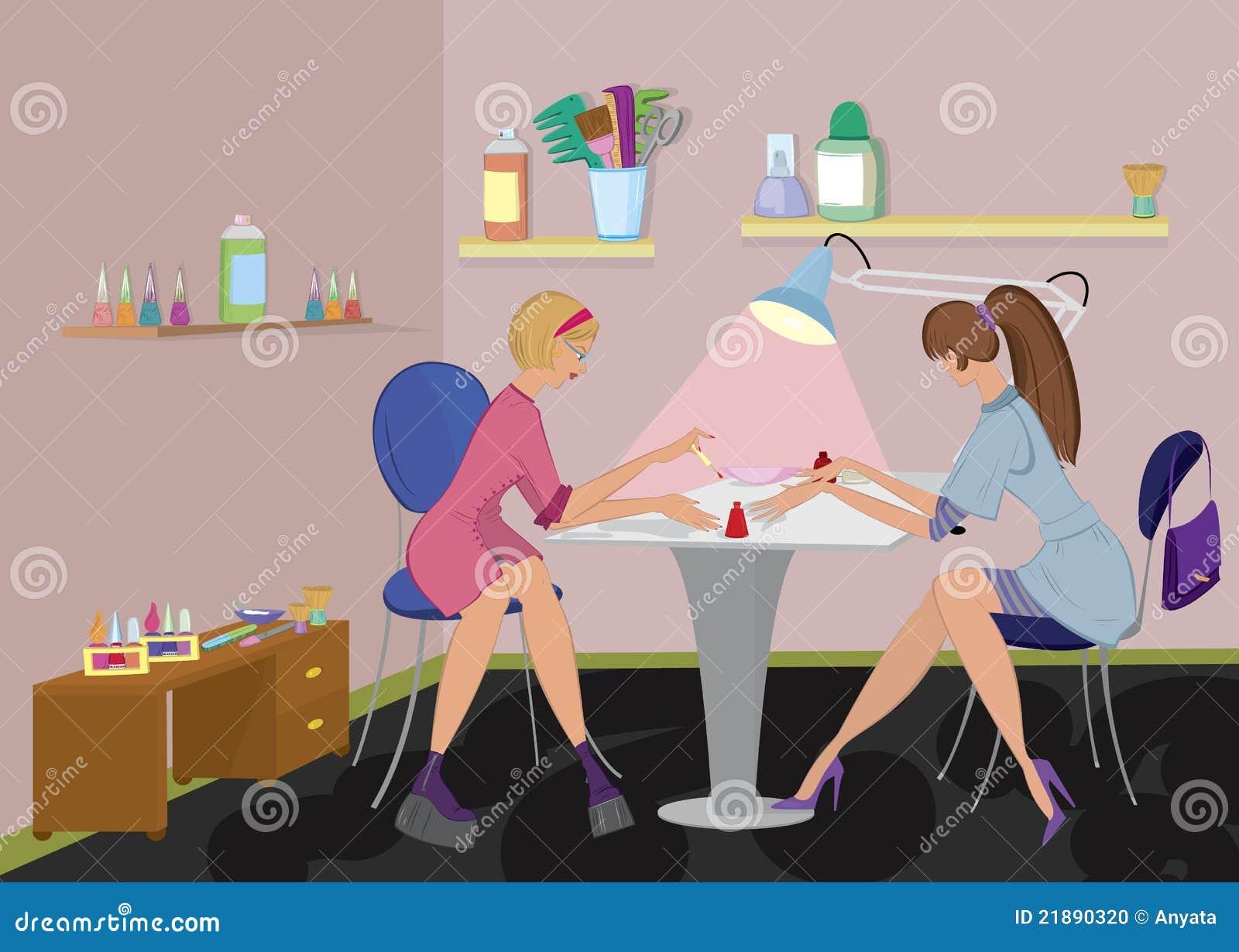 Beauty Salon Manicurist Applies Nail Polish