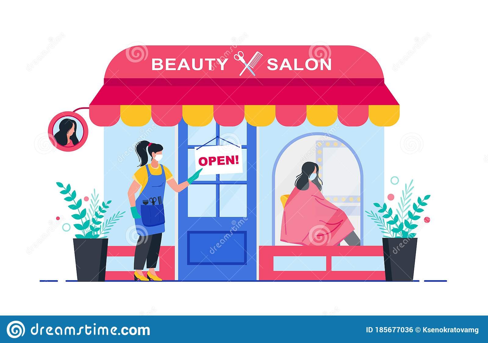 Beauty Salon Opening After Quarantine Woman Or Hairdresser Opens A Hair Salon After Quarantine Banner For A Beauty Stock Vector Illustration Of Character Care 185677036
