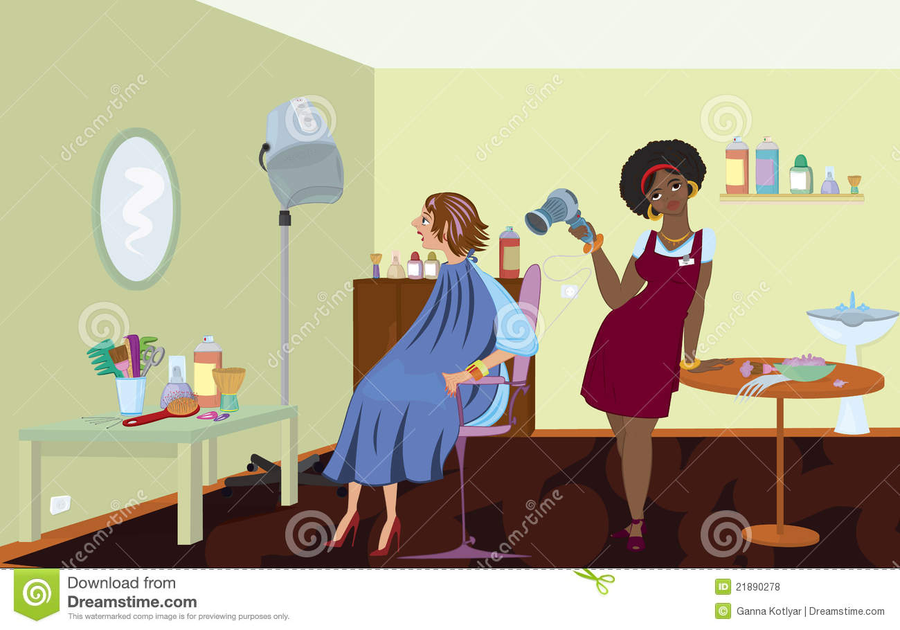 Professional Hair Salon : Beauty salon professional is blow drying clients hair after dying it.
