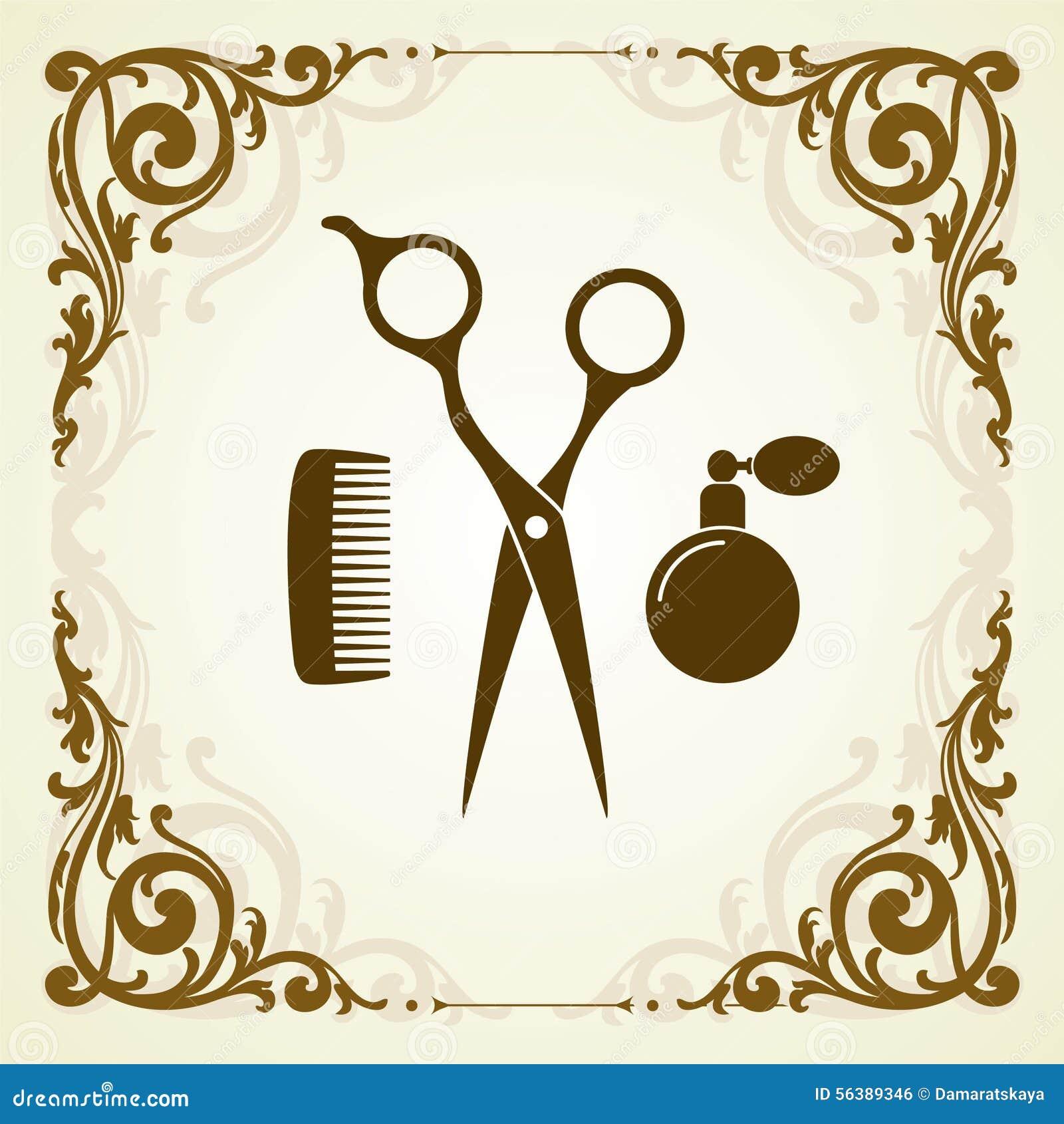 Beauty Salon Symbol With Scissor Stock Vector Image