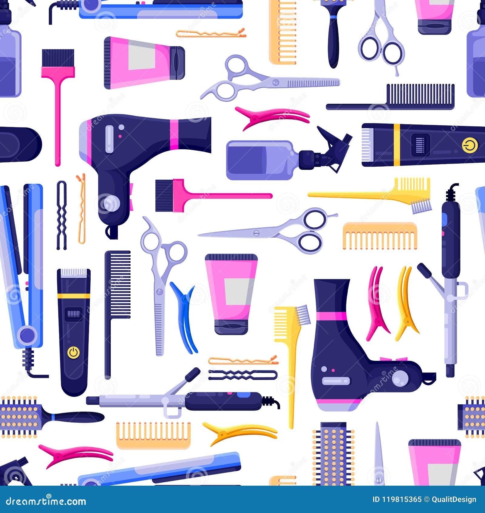 Beauty Salon Vector Seamless Pattern. Colorful Hair ...