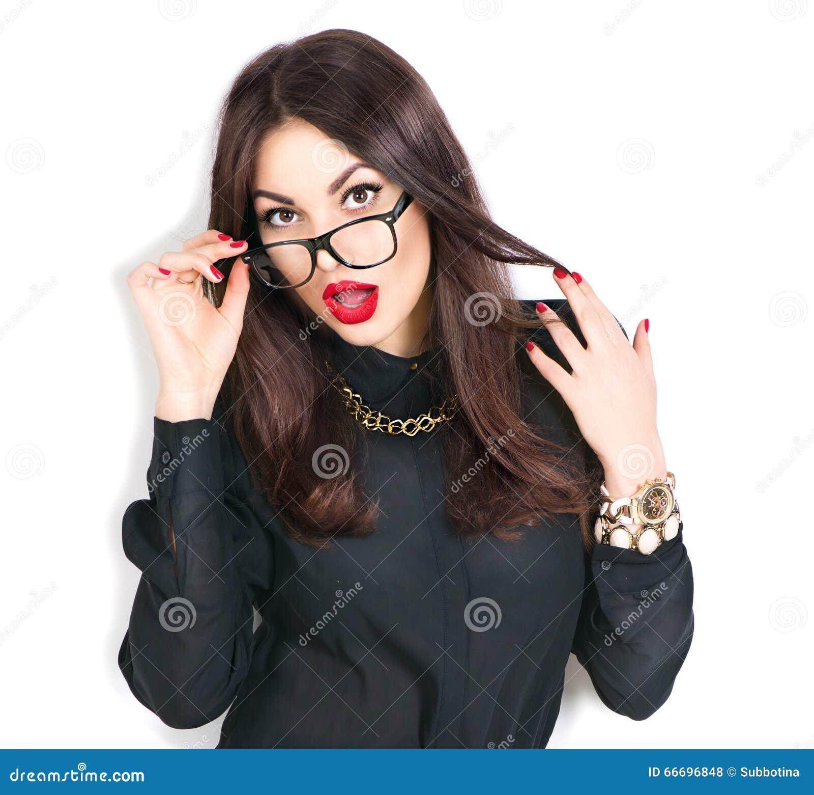 4eaab8f33 Beauty fashion model girl wearing glasses, isolated on white background.  More similar stock images