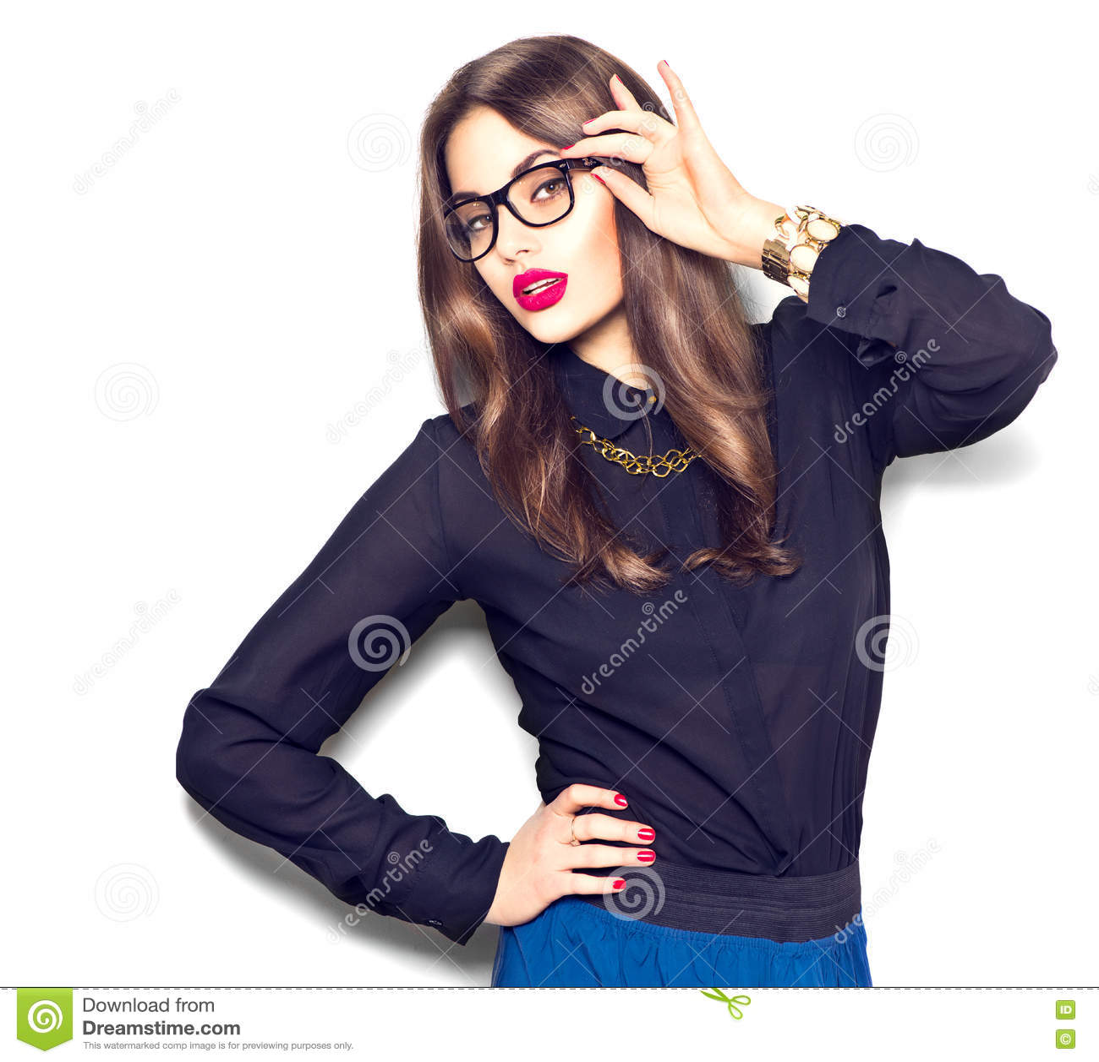 1c1b984b1 Beauty fashion model girl wearing glasses, isolated on white background
