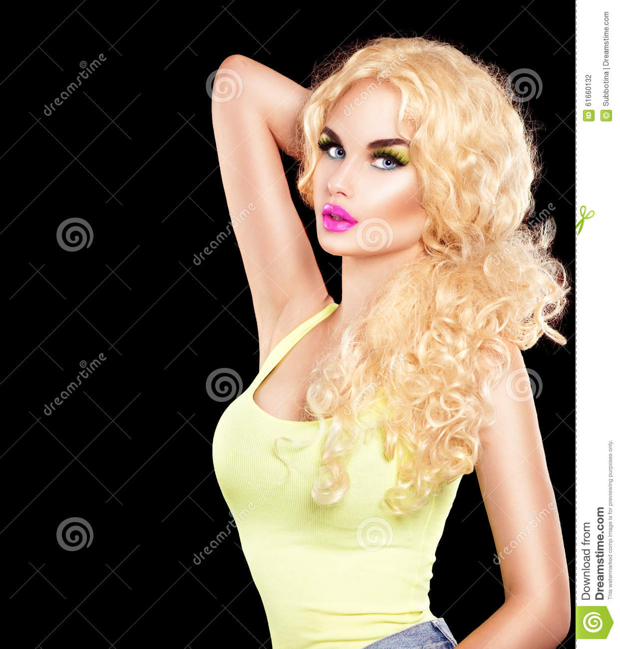 Beauty model girl with long curly hair