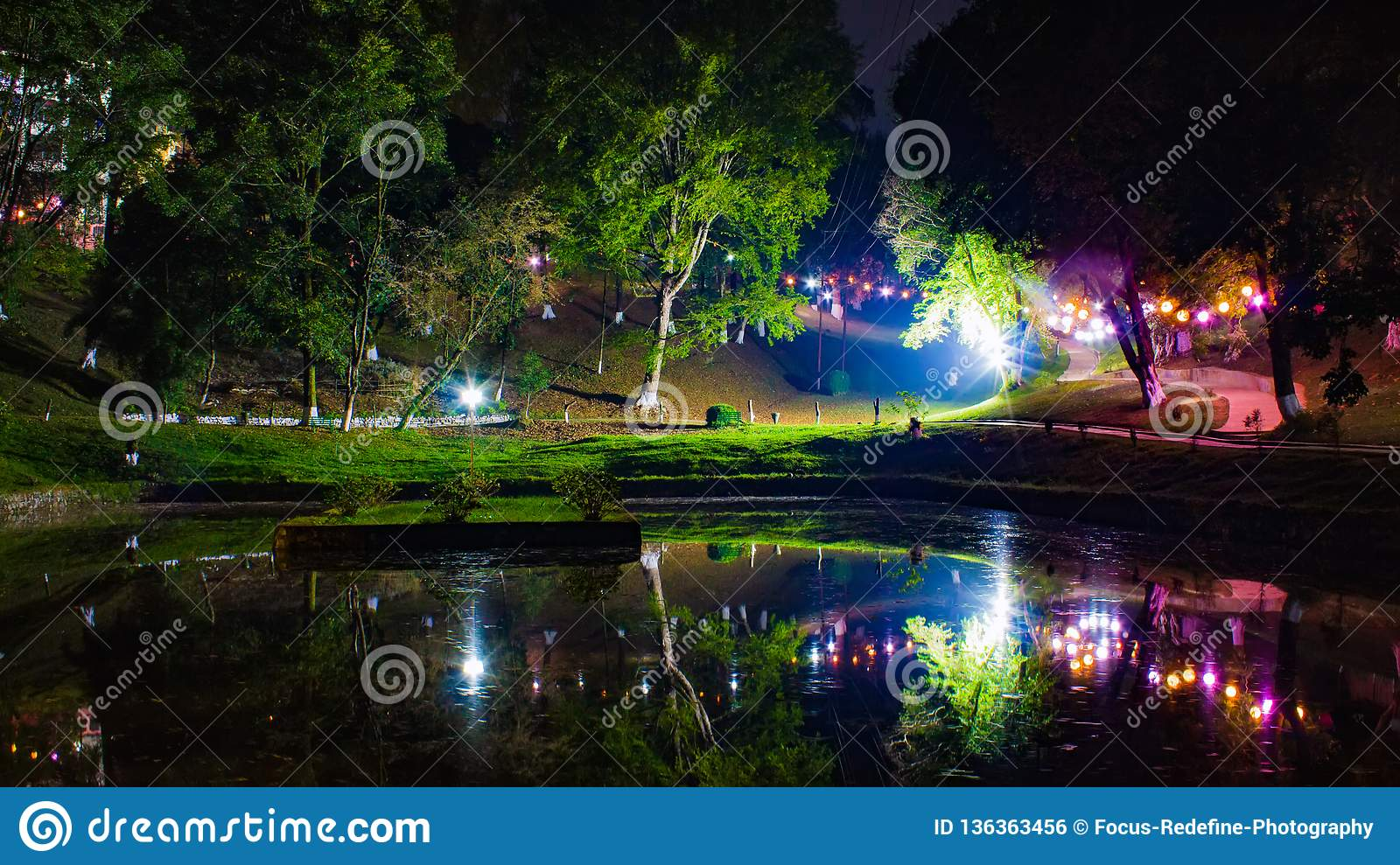 Beauty of Shillong with reflecting illumination lights on the Shillong's 3rd India International Cherry Blossom Festival 2018 at