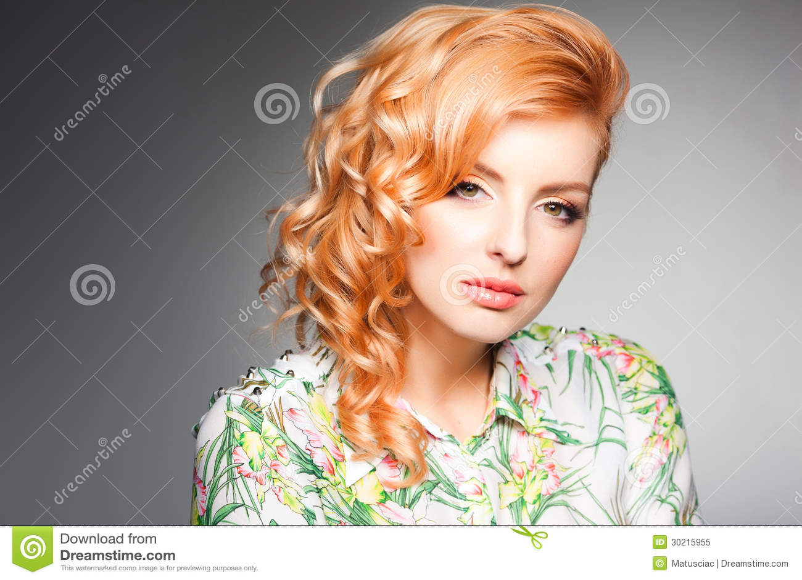 Beauty portrait of beautiful blonde woman wearing professional make-up