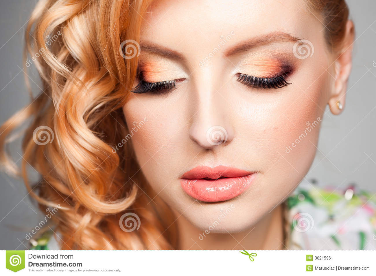 close up of professional eye make up on beautiful blonde. Black Bedroom Furniture Sets. Home Design Ideas