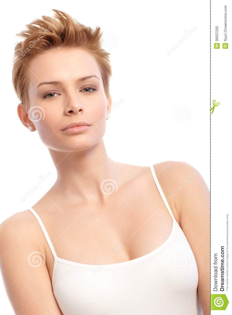 Beauty Shot Of Young Woman With Short Hair Stock Photography - Image ...