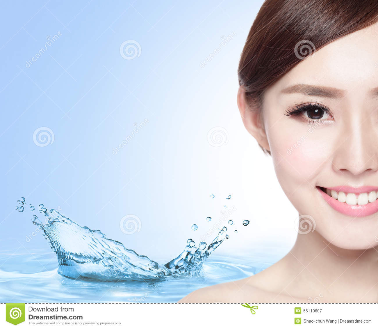 Skin Care Model: Beauty Skin Care Concept Stock Image. Image Of Blue, Half