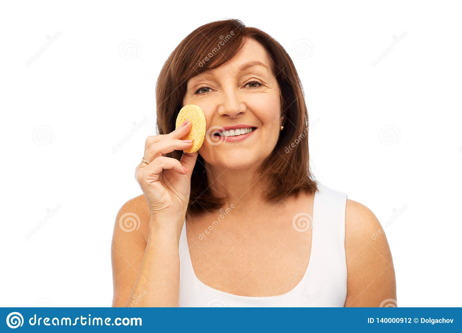 Woman Cleaning Face With Exfoliating Sponge Stock Photo Image Of