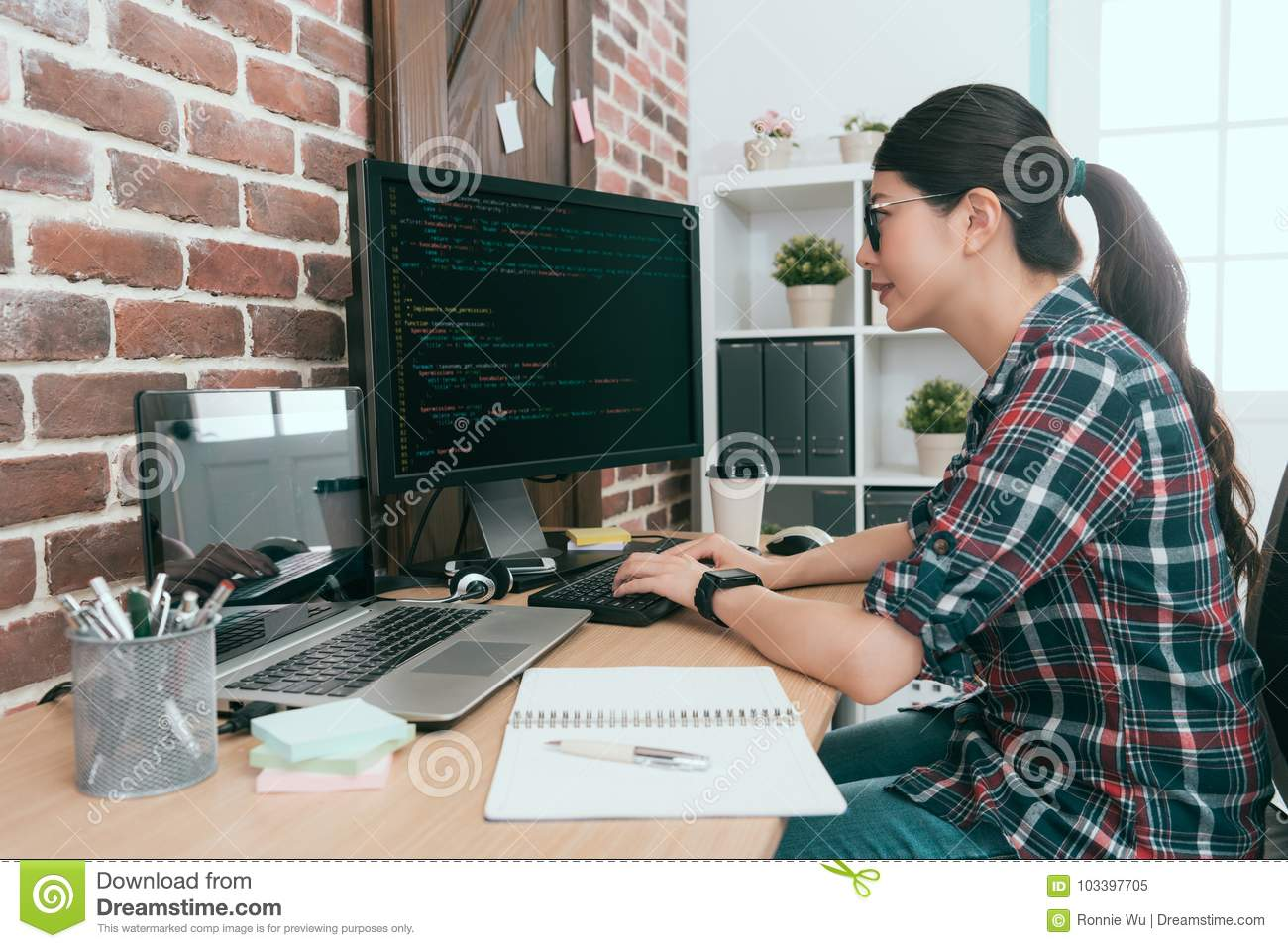Beauty smiling female programmer using computer