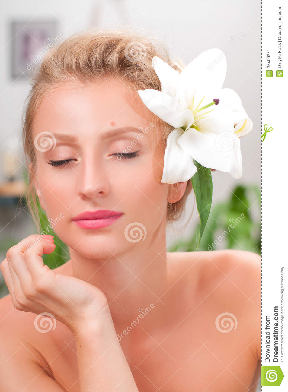 Beauty and spa. Beautiful young woman with clean fresh skin