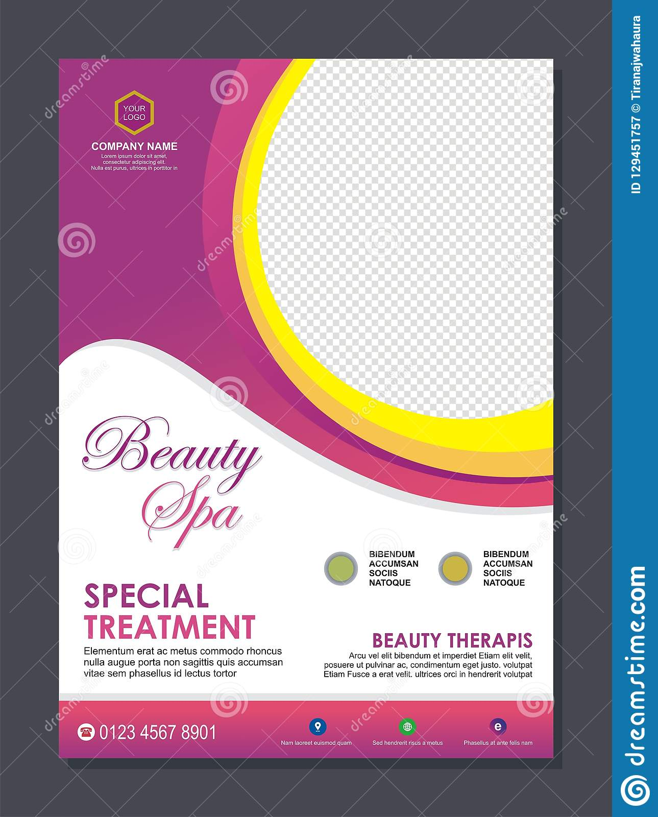 Beauty Spa Flyer Template With Stylish Wave Design Stock Vector Illustration Of Book Background 129451757