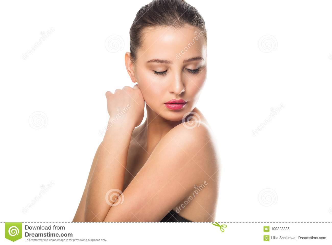 Beauty Spa Woman With Perfect Skin Portrait Beautiful Girl Looking Down On White Background