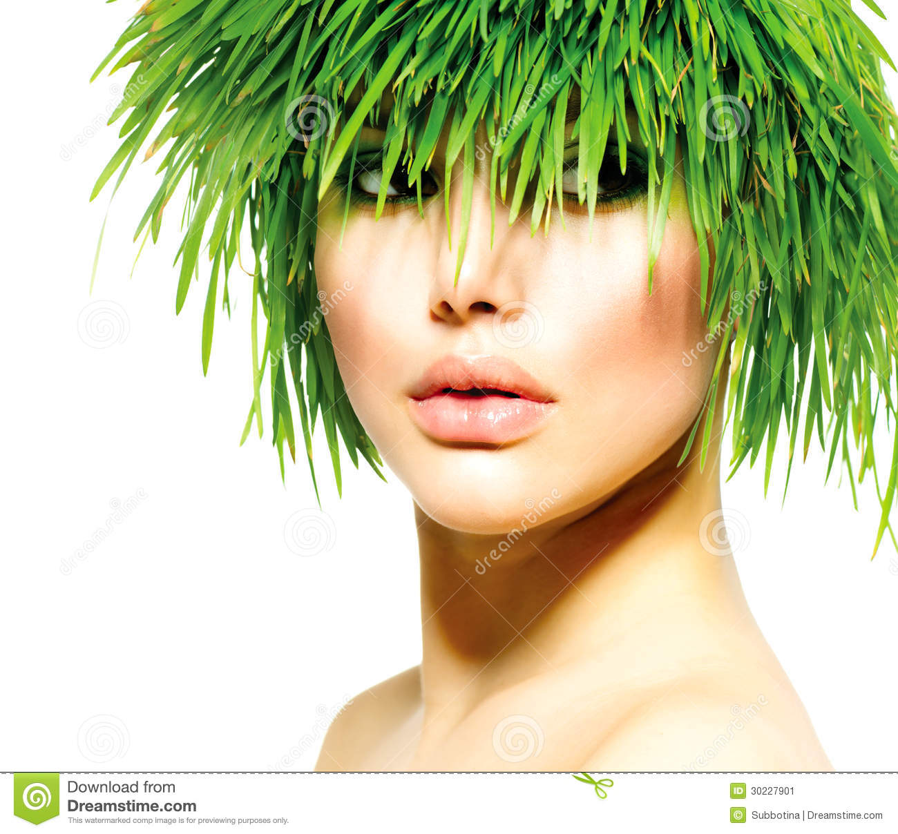 Woman With Green Grass Hair Stock Image