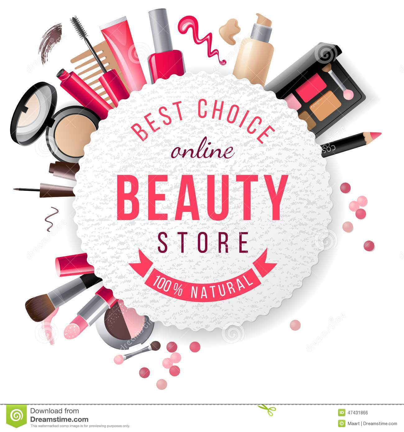Beauty Store Emblem With Type Design And Cosmetics Royalty Free Stock Image