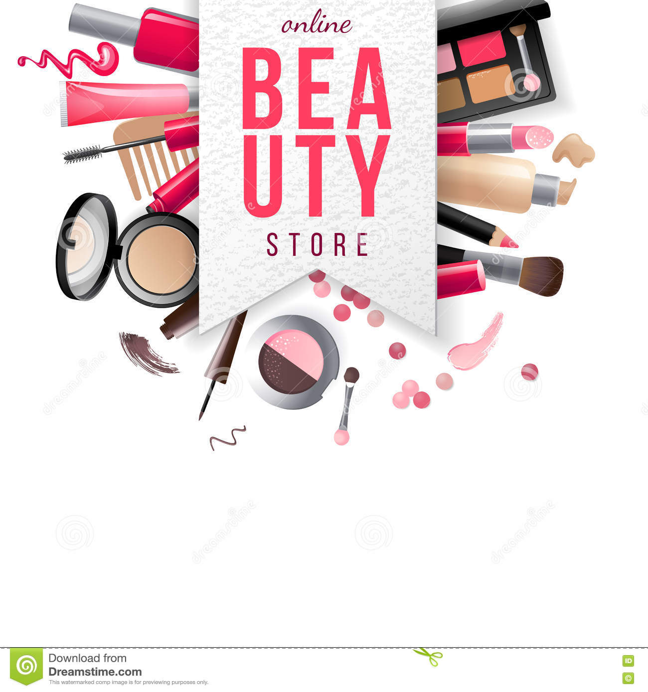 Beauty Store Emblem With Type Design And Cosmetics Stock ...