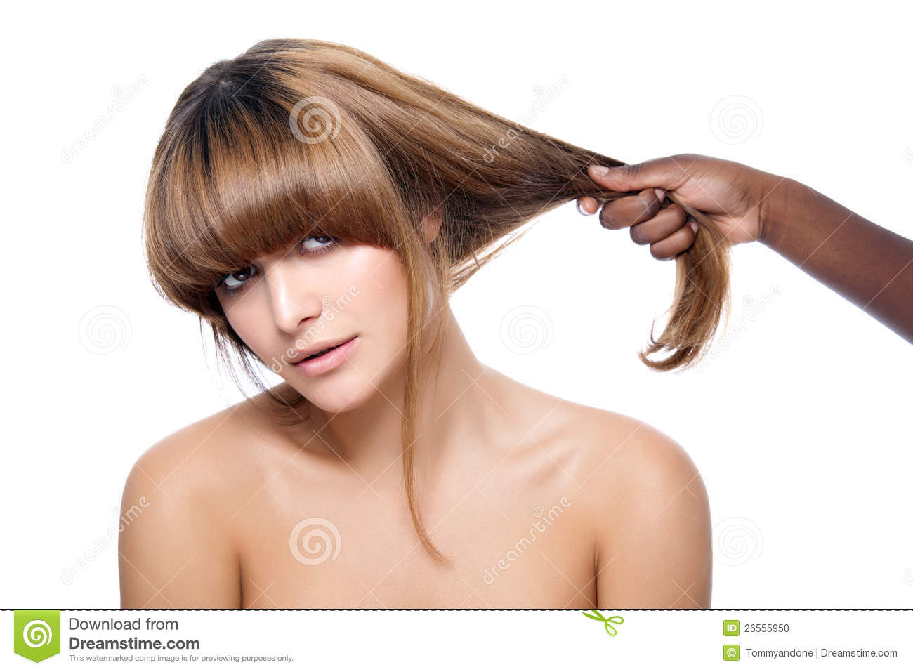 Beauty With Strong Hair Stock Photo